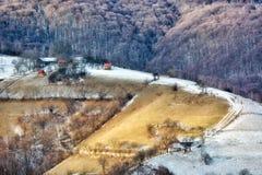 Djupfryst solig dag av en vinter, på lösa transylvania kullar Royaltyfria Foton