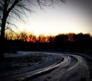 Djupfryst solnedgång Royaltyfria Foton