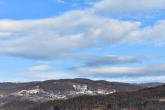 Djupfryst stad i Rumänien Fotografering för Bildbyråer