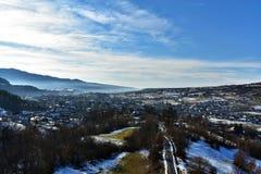 Djupfryst stad i Rumänien Arkivfoton