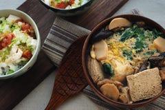 Djupfryst Tofusoppa & Tofu Mentaiko Donburi Arkivfoto