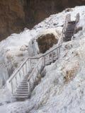 Djupfryst trappa i Island Arkivfoton