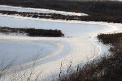 Djupfryst vatten, modeller av insnöade små sjöar Royaltyfri Foto