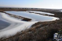 Djupfryst vatten, modeller av insnöade små sjöar Royaltyfria Bilder