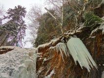 Djupfryst vattenfall i bergen Fotografering för Bildbyråer