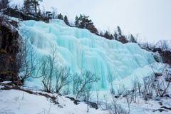 Djupfryst vattenfall i Norge Royaltyfri Foto