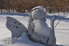 Djupfryst vinternymf i snö Royaltyfria Bilder