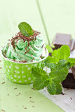 Djupfryst yoghurt med mintkaramellen royaltyfria foton
