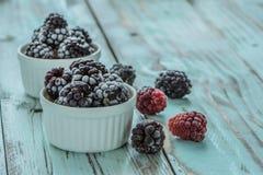 Djupfrysta Dewberries i rimfrost på lantlig trätable4 close upp royaltyfri foto