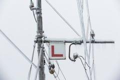 Djupfrysta elektriska linjer för järnväg Royaltyfri Fotografi