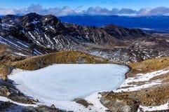 Djupfrysta Emerald Lakes i den Tongariro nationalparken, Nya Zeeland Fotografering för Bildbyråer