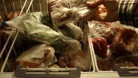 Djupfrysta grönsaker för vinter stock video