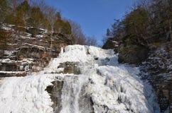 Djupfrysta Hector Falls nära den Watkins dalgången NY arkivbild