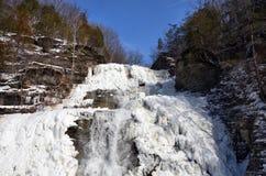 Djupfrysta Hector Falls nära Watkins Glen New York fotografering för bildbyråer