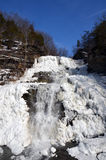 Djupfrysta Hector Falls utanför den Watkins dalgången under vinter royaltyfri fotografi