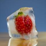 Djupfrysta jordgubbar i is Royaltyfri Bild
