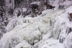Djupfrysta nedgångar - Chittenango faller delstatsparken - Cazenovia, nya Yor Royaltyfria Bilder
