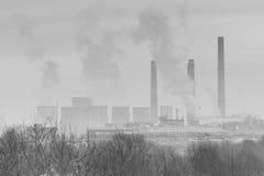 Djupfrysta torra träd i vinter och industriella pannor svart och wh Royaltyfri Fotografi