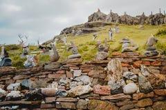 Djupivogur, Iceland - June 24, 2014: funny exhibition of stones royalty free stock photography