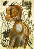 Djupt i tanketeckningen som uttrycker sinnesrörelse Arkivfoto