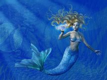 djupt mermaidhav royaltyfri illustrationer