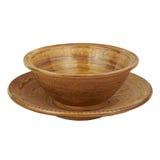 Djupt och bli grund monokrom handgjord lera för den keramiska maträtten isolerat Royaltyfri Bild
