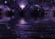 Djupt - purpurfärgat fantasilandskap stock illustrationer