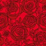 Djupt - röd passion steg den sömlösa modellen för blommor royaltyfri illustrationer