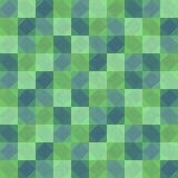 Djupt - sömlös bakgrund för grön patchwork med fyrkanter och romber Fotografering för Bildbyråer