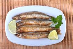 Djupt steka den lilla fiskcapelinen och den skivade citronen på den vita plattan Bra mellanmål till öl Fotografering för Bildbyråer