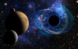 Djupt svart hål, som ett öga i himlen royaltyfri foto