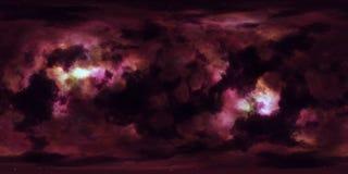 Djupt utrymme för stjärnanebulosa 360 grad sfärisk panorama Arkivbild
