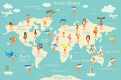 Djur översikt av världen Världskarta för barn Djuraffisch Återhållsamma djur, marin- liv Sydamerika Eurasia, norr A stock illustrationer