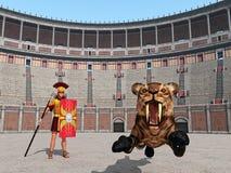 Djur attack i Colosseumen i forntida Rome Royaltyfri Foto