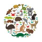 djur Australien Octop för dingo för känguru för krokodil för sköldpadda för orm för vombat för papegoja för kakadua för Tasmanian Royaltyfria Bilder