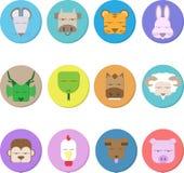 12 djur av den kinesiska zodiaken, den falska framsidan och illustrationen stock illustrationer