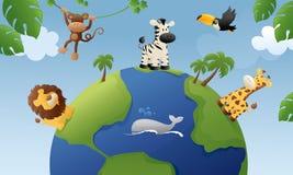 Djur av världen royaltyfri illustrationer