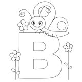 djur b färgläggningsida för alfabet Royaltyfria Bilder