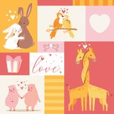 Djur behandla som ett barn illustrationen för vektorn för kortet för födelsedaginbjudanzoo Gullig affischmall Baby shower med rom fotografering för bildbyråer