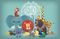 djur djurfärg som äter gräs, river zooen Royaltyfri Fotografi