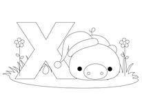djur färgläggningsida x för alfabet Royaltyfri Fotografi