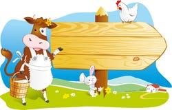 Djur för rolig lantgård, träskylt, kopieringsutrymme Arkivbild