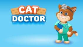 Djur för tecknad film för kattdoktor gulligt Illustration för vektorgemkonst Royaltyfri Bild
