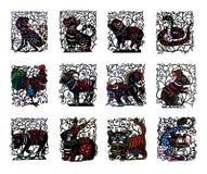 Djur för zodiak för svart handgjort snittpapper kinesiska stock illustrationer