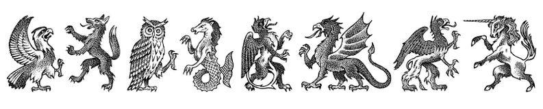 Djur f?r heraldik i tappningstil Inristad vapensköld med fåglar, mytiska varelser, fisk Medeltida emblem och vektor illustrationer