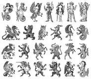 Djur f?r heraldik i tappningstil Inristad vapensk?ld med f?glar, mytiska varelser, fisk, drake, enh?rning, lejon royaltyfri illustrationer