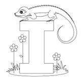 djur färgläggning för alfabet som jag page Royaltyfria Bilder