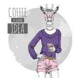 Djur giraff för Retro Hipstermode med kaffe Kvinnamodell Royaltyfri Bild
