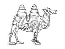 Djur gravyrvektor för mekanisk kamel stock illustrationer