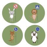 Djur hållet tecken av trafikregler royaltyfri illustrationer